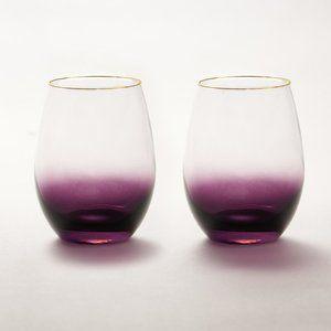 NIB Amethyst Ombre Wine Glasses, 2 count
